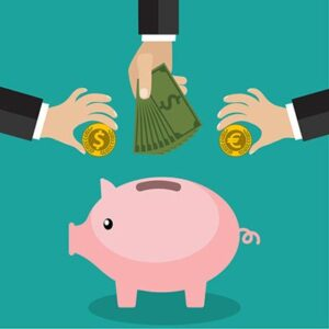 cartoon piggy bank with three hands putting money in to represent recurring monthly revenue